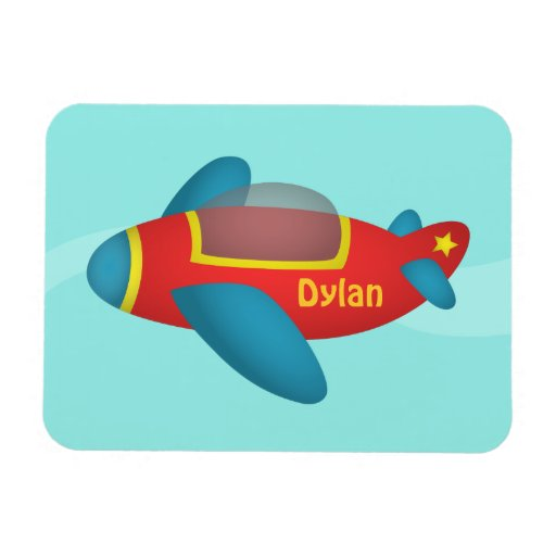 Cute Colourful Aeroplane Jet for Kids Rectangle Magnet