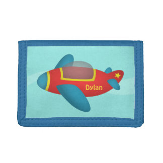 Cute Colourful Aeroplane Jet for Kids Trifold Wallet