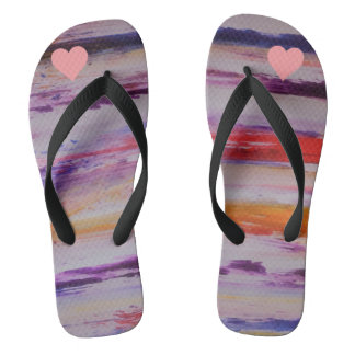Cute colourful and heart girl Pair of Flip Flops