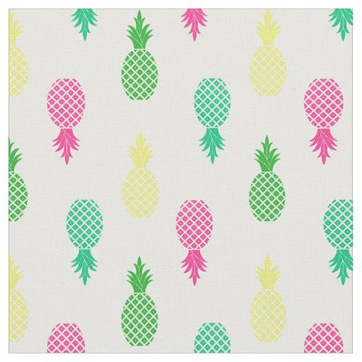Cute Colourful and Tropical Pineapple Pattern Fabric