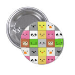 Cute Colourful Animal Face Squares Pattern Design