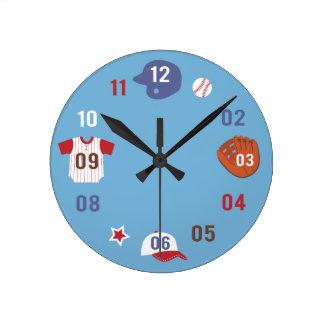 Cute Colourful Baseball Theme Boys Room Round Clock