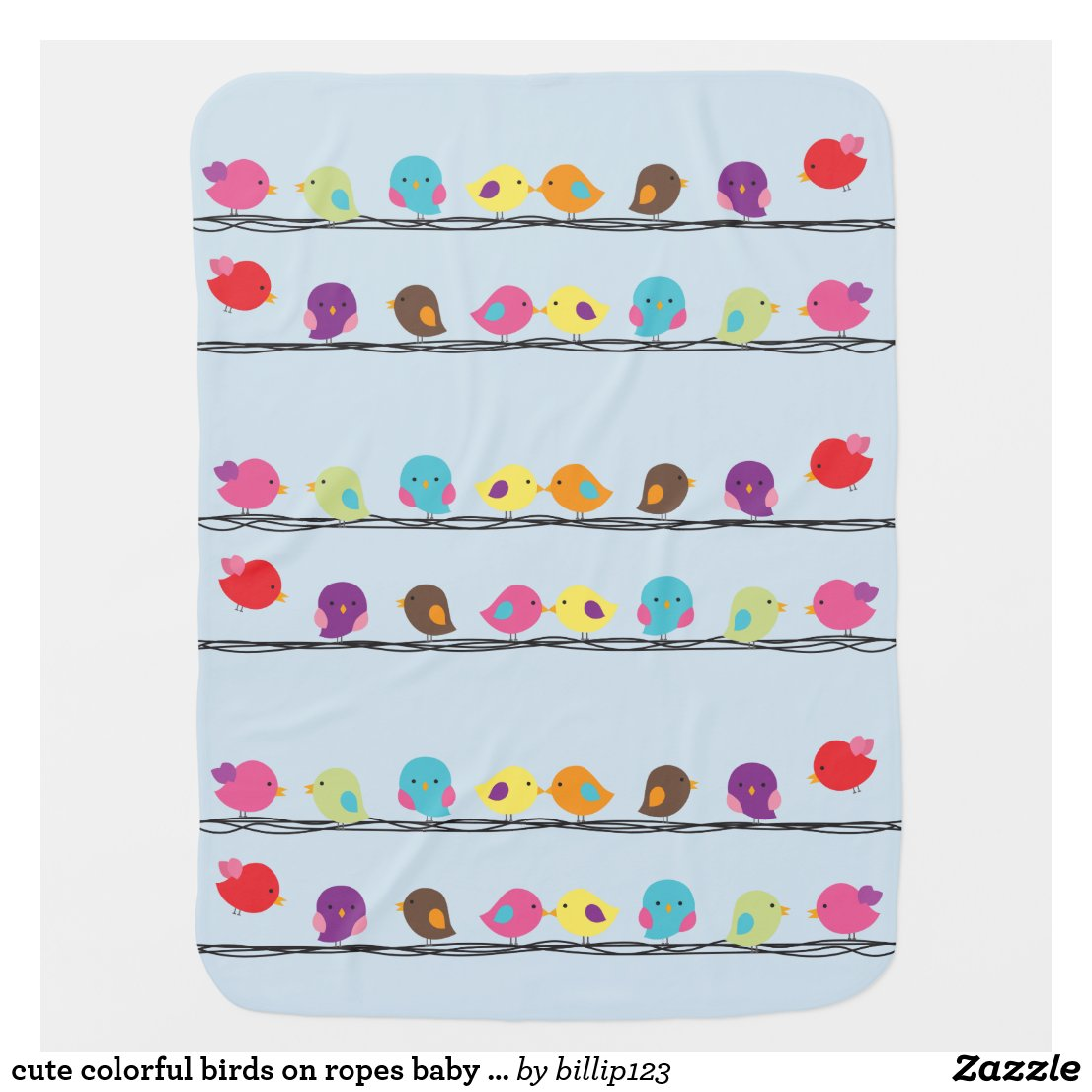 cute colourful birds on ropes baby blanket