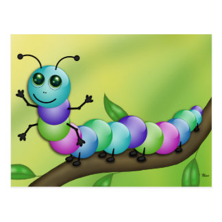 Cute Colourful Caterpillar Postcard