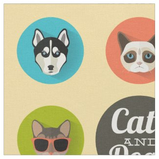 Cute Colourful Cats & Dogs Cartoon Illustration