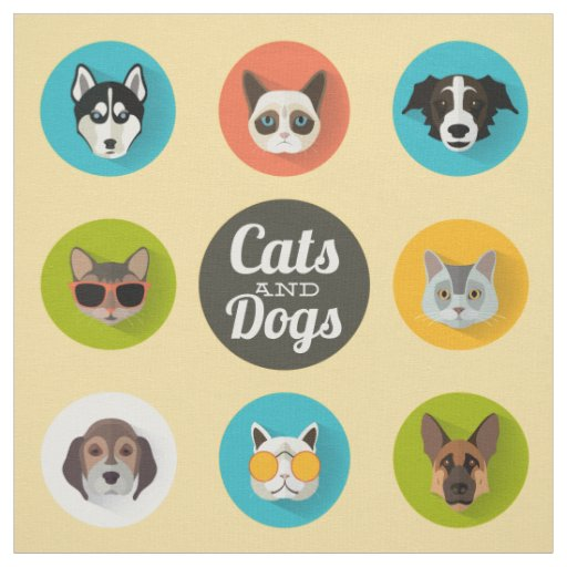 Cute Colourful Cats & Dogs Cartoon Illustration Fabric