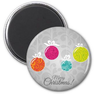 Cute colourful Christmas bauble decorations Fridge Magnets