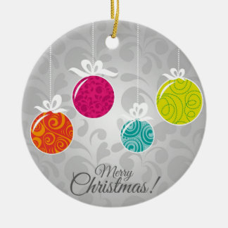 Cute colourful Christmas bauble decorations Round Ceramic Decoration