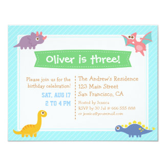 Cute Colourful Dinosaur Birthday Party 11 Cm X 14 Cm Invitation Card