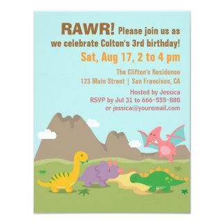 Cute Colourful Dinosaur Birthday Party Card