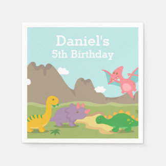 Cute Colourful Dinosaur Birthday Party Disposable Serviette