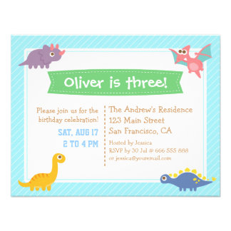 Cute Colourful Dinosaur Birthday Party Personalized Invitation