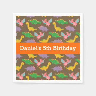 Cute Colourful Dinosaur Birthday Party Paper Napkin