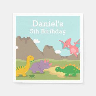 Cute Colourful Dinosaur Birthday Party Disposable Napkins