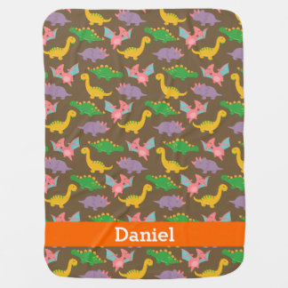 Cute Colourful Dinosaur Pattern for Babies Receiving Blanket