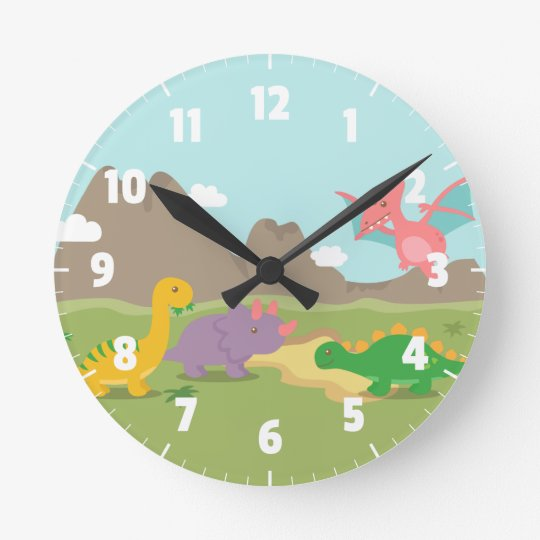 Cute Colourful Dinosaurs For kids Bedroom Wallclocks