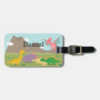 Cute Colourful Dinosaurs For kids Luggage Tag