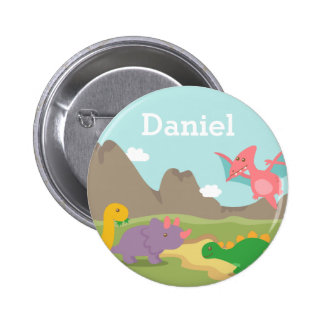 Cute Colourful Dinosaurs For Kids, Name 6 Cm Round Badge