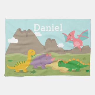 Cute Colourful Dinosaurs For Kids Tea Towel