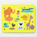 Cute Colourful Educational Animals Yellow Custom Mouse Pad