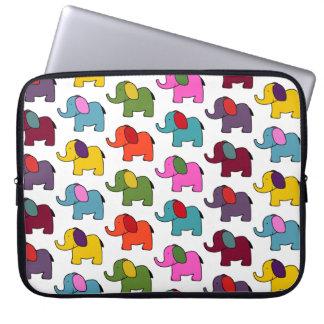 Cute colourful elephant cartoons good luck laptop computer sleeve