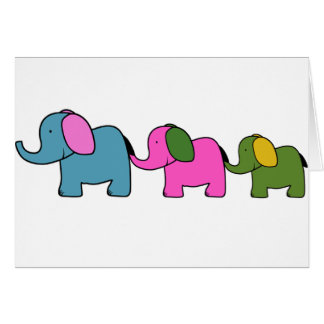 Cute colourful  elephant cartoons greeting card