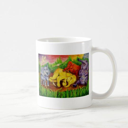 cute colourful elephants coffee mug