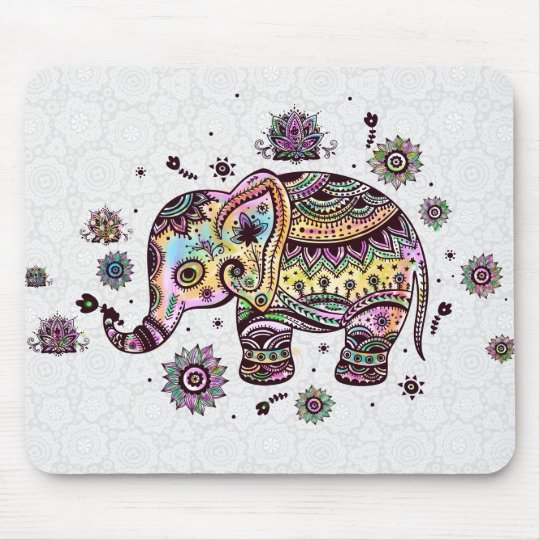 Cute Colourful Floral Baby Elephant Illustration Mouse Mat
