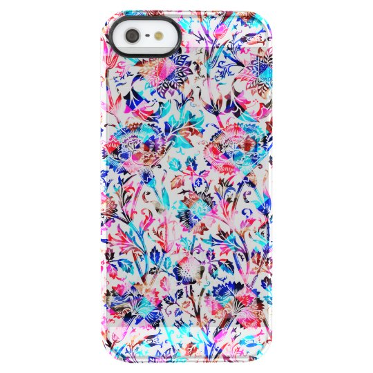 Cute colourful floral design clear iPhone SE/5/5s case