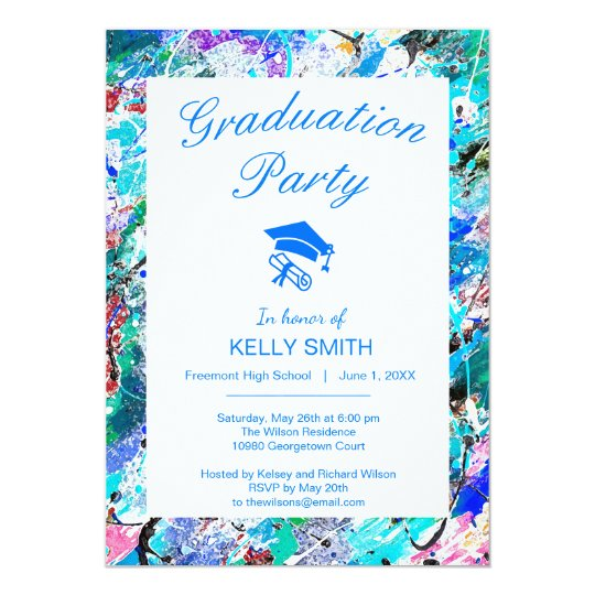 Cute colourful fresque painting graduation party card