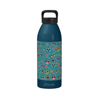 Cute colourful funny trendy heart owls pattern water bottles