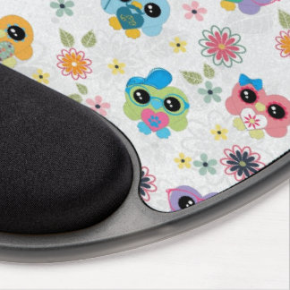 Cute colourful funny trendy heart owlspattern gel mouse mat