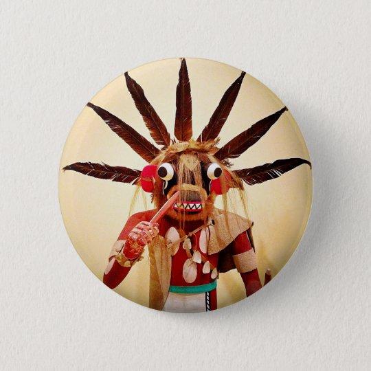 Cute, colourful funny wood figure face photo 6 cm round badge
