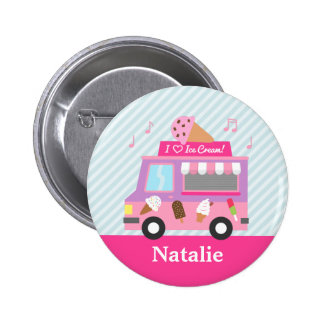 Cute Colourful Ice Cream Truck For Girls 6 Cm Round Badge