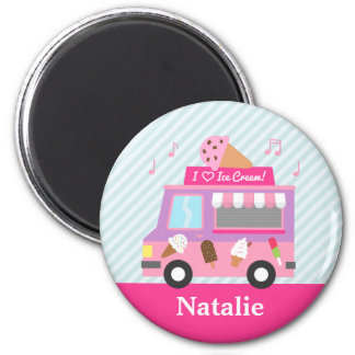 Cute Colourful Ice Cream Truck For Girls 6 Cm Round Magnet