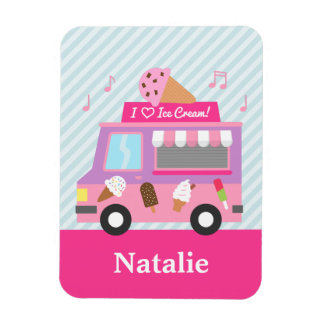 Cute Colourful Ice Cream Truck For Girls Rectangular Photo Magnet