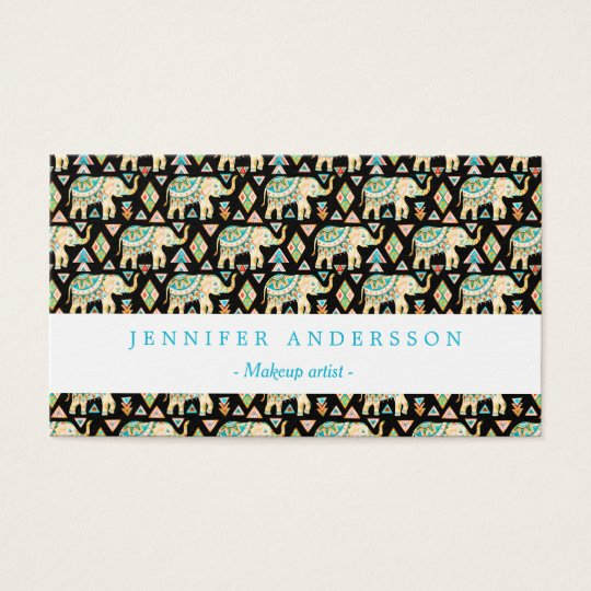 Cute colourful indian elephants pattern business card