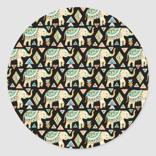 Cute colourful indian elephants pattern classic round sticker