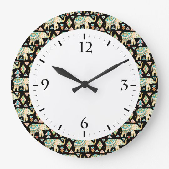 Cute colourful indian elephants pattern large clock