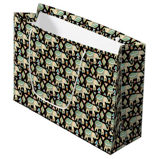 Cute colourful indian elephants pattern large gift bag