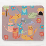 Cute Colourful Kitty Cats Gifts for Cat Lovers Mouse Mat
