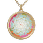 Cute Colourful Lotus Flower Monogram Gold Plated Necklace