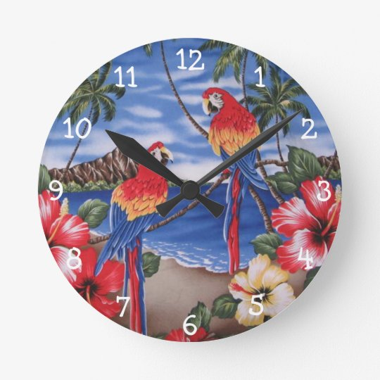 Cute Colourful Macaw Parrots On Hawaiian Beach Round Clock