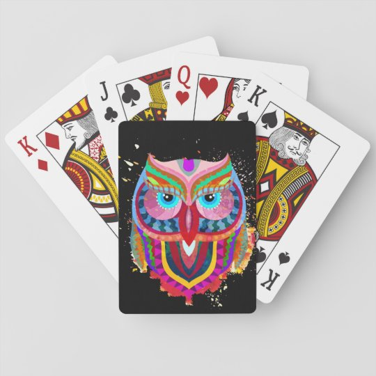 Cute Colourful Owl Cards, Standard Index faces Playing
