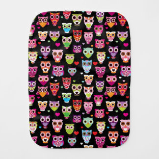 cute colourful owl kids pattern burp cloth