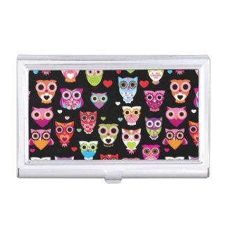 cute colourful owl kids pattern business card holder