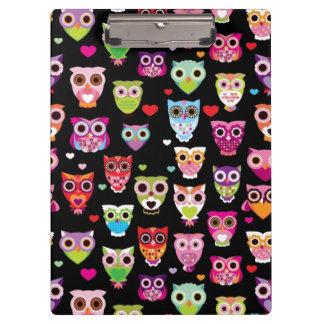 cute colourful owl kids pattern clipboards