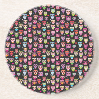 cute colourful owl kids pattern beverage coaster