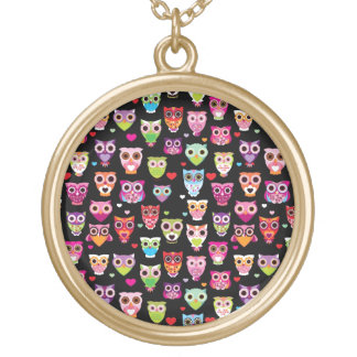 cute colourful owl kids pattern gold plated necklace