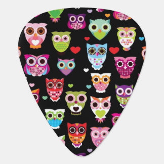 cute colourful owl kids pattern guitar pick